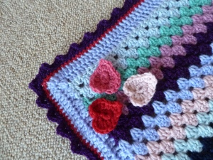 granny stripe crochet hearts