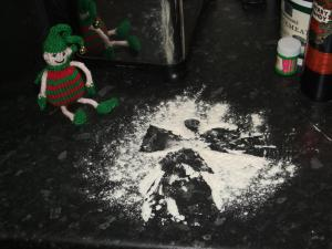 Dec 3: making snow angels in the flour