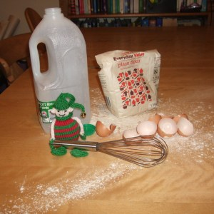 Dec 9: what the kids think happened (the trail of flour leads to the fridge, with a big jug of pancake batter inside)
