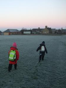 Seizing a brief moment of crunchy fun at the pink start to another day.