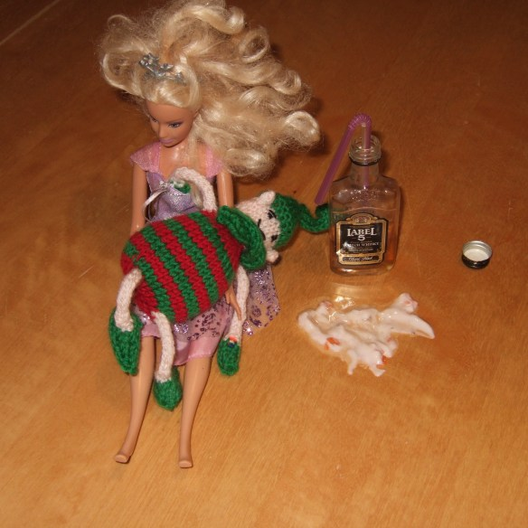 Dec 17 - too much whisky. I promise I removed Ed's hand from Barbie's bosom before the minxes saw them. PS yes, those are carrot chunks you can see