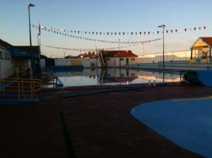 Stonehaven Open Air Pool: taken at 8pm after it shut. The big slide is in the middle of the photo, at the back