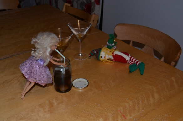 Edward and Edwinn, gubbed on marmalade cocktails; Barbie drinking pickled onion vinegar like a lady. ... ...pickled onion vinegar?! ...!... Congratulations on your impending arrival, Mr and Mrs Elf!
