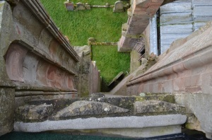 view down tower of Melrose Abbey