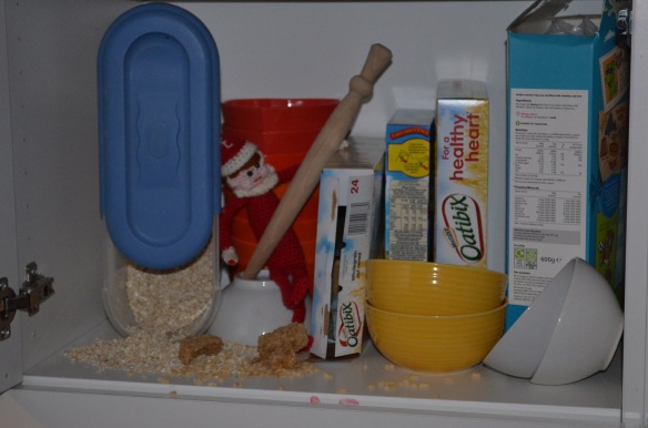 Elf on the Shelf prank with breakfast cereal