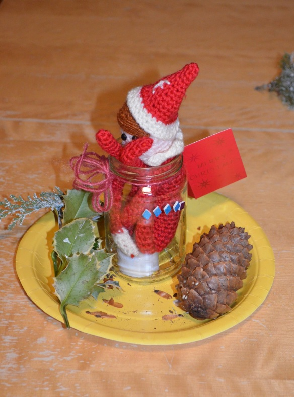 elf on the shelf stuffed in a jar